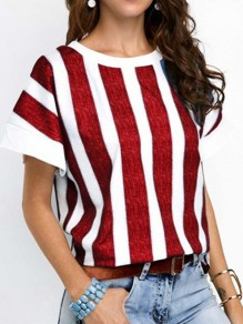 Red Striped Pattern Vintage Comfy Round Neck Fashion T-Shirt