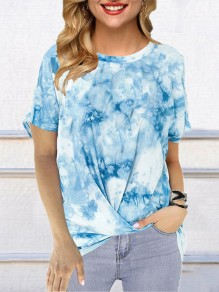 T-shirt fashion manica corta girocollo color block tie color dye blu