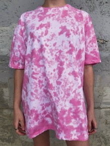 Red Color Block Tie Dye Round Neck Short Sleeve Fashion T-Shirt