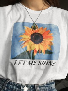 White Let Me Shine Sunflower Casual Honey Girl T-shirt
