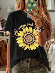 T-shirt tournesol col rond manches courtes casual honey girl noir jaune
