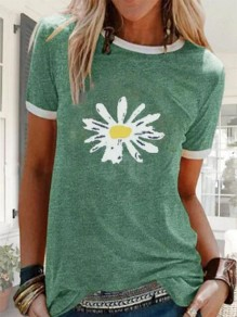 Green Daisy Print Oversize Round Neck Short Sleeve Fashion T-Shirt