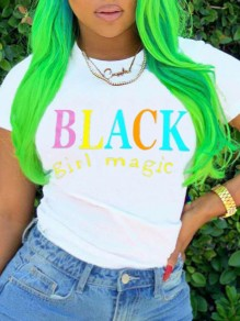 "T-shirt imprimé ""black girl magic"" col rond manches courtes casual blanc"