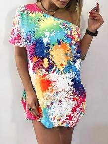 White Green Colorful Tie Dye Spray Paint Print One Shoulder Casual T-shirt Dress