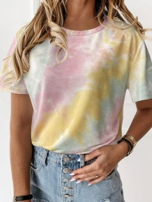 Yellow Color Block Tie Dye Round Neck Short Sleeve Casual T-Shirt
