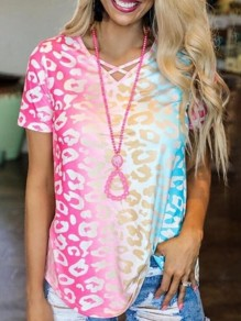 Pink Colorful Tie Dye Gradient Leopard Print V-neck Cut Out Short Sleeve Plus Size Casual T-Shirt