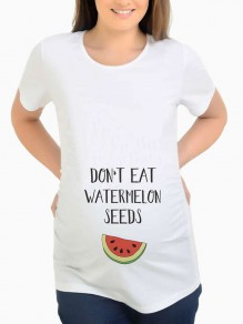 "White ""DON'T EAT WATERMELON SEEDS"" Print Round Neck Short Sleeve Casual Maternity T-Shirt"