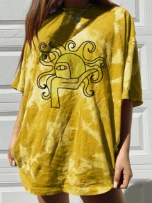 Yellow Tie Dye Sun Print Oversize Round Neck Short Sleeve Fashion T-Shirt