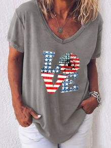T-shirt love flower american flag independence day col rond`` manches courtes`` décontracté`` gris