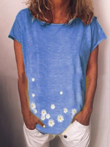 Blue small daisy camiseta de cuello redondo
