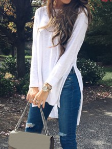 White Double Slit Round Neck Long Sleeve Going out T-Shirt