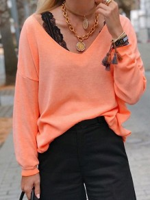Orange Bodycon Comfy V-neck Long Sleeve Going out T-Shirt