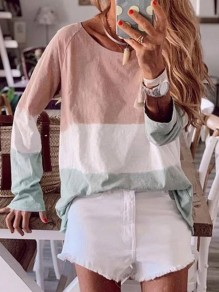 Pink Bodycon Comfy Hit Color Round Neck Long Sleeve Going out T-Shirt