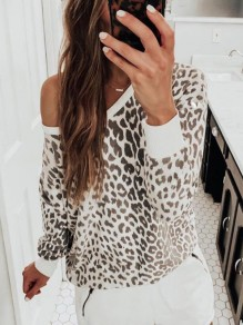 Weiß Leopardenmuster One Shoulder Langarm Sweatshirt Pullover Damen Mode