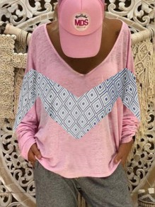 Pink Patchwork Pattern Comfy Bodycon V-neck Going out T-Shirt