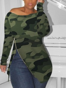 Green Camouflage Off Shoulder Zipper Irregular Long Sleeve Casual T-Shirt