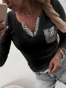 Black Patchwork Sequin V-neck Bodycon Glitter Fashion T-Shirt