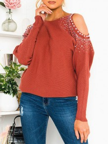 T-shirt découpe strass col rond manches longues rouge
