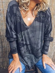 Black Camouflage Print V-neck Dolman Sleeve Oversize Fashion T-Shirt