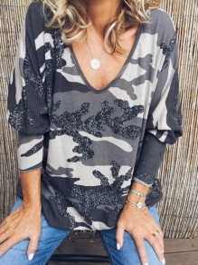 Grey Camouflage Print V-neck Dolman Sleeve Oversize Fashion T-Shirt