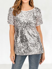 Silver Patchwork Sequin Short Sleeve Fashion Glitter Sparkly T-Shirt