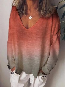 Red Patchwork Comfy Gradient Long Sleeve Fashion T-Shirt