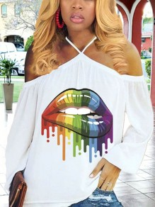 White Rainbow Color Lips Print Halter Neck Off Shoulder Long Sleeve Casual T-Shirt