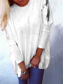 White Sequin Long Sleeves Round Neck Cotton Loose Casual Womens T-shirt