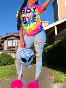 "Rainbow Tie Dye Letter ""BOY BYE"" Print Round Neck Short Sleeve Casual T-Shirt"