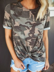 Army Green Camouflage Print Knot Round Neck Short Sleeve T-Shirt