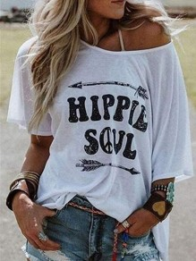 T-shirt hippie soul monogram manches courtes oversized boho femme top blanc