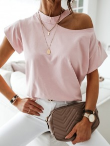 Rosa Cut Out One Shoulder Kurzarm Beiläufige Schulterfrei T-Shirt Tops Oberteile Damen