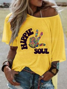 Yellow Monogram Hippie Soul Pattern Irregular One Shoulder Half Sleeve Plus Size Casual T-shirt