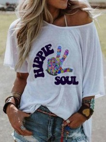 White Monogram Hippie Soul Pattern Irregular One Shoulder Half Sleeve Plus Size Casual T-shirt