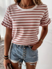 Red White Striped Print Ruffle Round Neck Short Sleeve T-Shirt