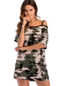 Green Camouflage Print One Shoulder Short Sleeve Fashion T-Shirt