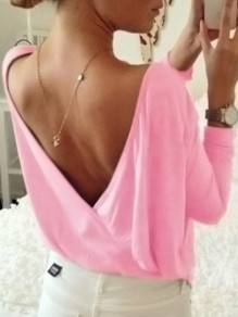 T-shirt dos nu col rond manches longues oversize rose