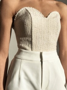 White Bandeau Bodycon Off Shoulder Knitwear Going out Vest