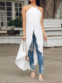 White High Low Halter Neck Backless Flowy Fashion Vest