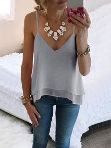 Grey Irregular Spaghetti Strap V-neck Fashion Chiffon Vest