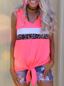 Pink Leopard Irregular Knot V-neck Fashion Vest