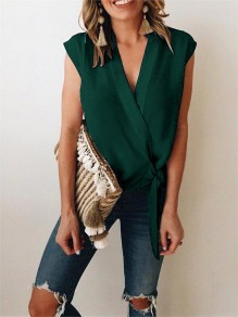Green Wrap V-neck Lace up Women Summer Casual Chiffon Slim Vest