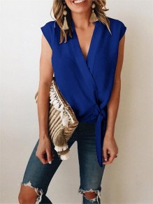 Blue Wrap V-neck Lace up Women Summer Casual Chiffon Slim Vest