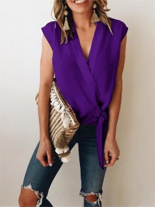 Purple Wrap V-neck Lace up Women Summer Casual Chiffon Slim Vest