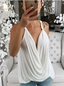 White Knot Backless Bodycon Spaghetti Strap V-neck Fashion Vest