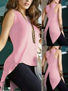 Pink Slit Cut Out Irregular Bodycon Comfy Fashion Vest