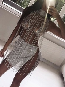 Silver Patchwotk Long Rhinestone Tassel Halter Neck Glitter Sparkly Birthday Party Coachella Vest