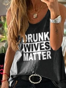 "Black ""DRUNK WIVES MATTER"" Letter Pattern Comfy Round Neck Casual Vest"