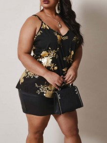 Black Floral Sequin Spaghetti Strap Backless Deep V-neck Sparkly Plus Size Vest