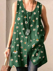 Green Small Daisy Pattern Front Slit Round Neck Sleeveless Cute Blouse
